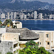 Architecture With Ith Acapulco Skyline Print by Linda Phelps