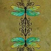 Art Nouveau Damselflies Print by Jenny Armitage