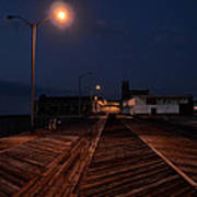 Asbury Park Boardwalk At Night Print by Bill Cannon