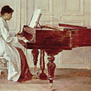 At The Piano Print by Theodore Robinson