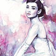 Audrey Hepburn Purple Watercolor Portrait Print by Olga Shvartsur