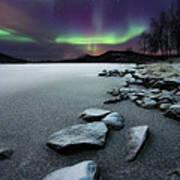 Aurora Borealis Over Sandvannet Lake Print by Arild Heitmann