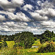 Australian Countryside - Floating Clouds Collage Print by Kaye Menner