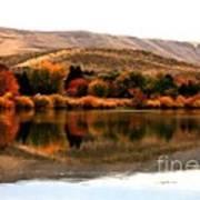 Autumn Glow On The Yakima River Print by Carol Groenen