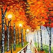 Autumn Park Night Lights Palette Knife Print by Georgeta  Blanaru