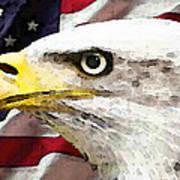 Bald Eagle Art - Old Glory - American Flag Print by Sharon Cummings