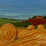 Field Of Golden Hay Print by Anthony Dunphy