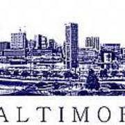 Baltimore Blueprint Print by Olivier Le Queinec
