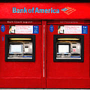Bank Of America Automated Teller Machine - Painterly - 5d20737 Print by Wingsdomain Art and Photography