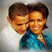 Barack And Michelle Print by Wayne Pascall
