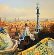 Barcelona Park Guell Print by Kiril Stanchev