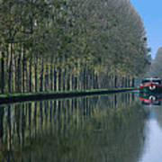 Barge On Burgandy Canal Print by Carl Purcell