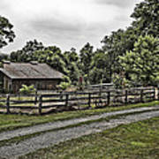 Barn And Corral Print by Guy Shultz