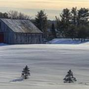 Barn In Snow In Color Print by Donna Doherty
