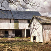 Barn Near Utica Mills Covered Bridge Print by Joan Carroll