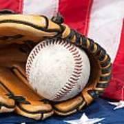 Baseball And Glove On American Flag Print by Joe Belanger