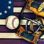 Baseball Catchers Mask Vintage On American Flag Print by Paul Ward