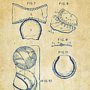 Baseball Construction Patent 2 - Vintage Print by Nikki Marie Smith