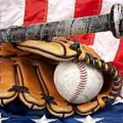 Baseball Equipment On American Flag Print by Joe Belanger