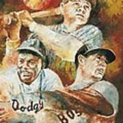 Baseball Legends Babe Ruth Jackie Robinson And Ted Williams Print by Christiaan Bekker