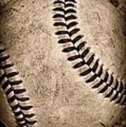 Baseball Old And Worn Print by Paul Ward