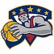 Basketball Player Holding Ball Star Retro Print by Aloysius Patrimonio