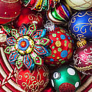 Basketful Of Christmas Ornaments Print by Garry Gay