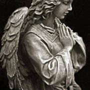 Beautiful Angel Praying Hands Christian Art Print Print by Kathy Fornal