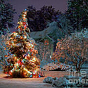 Beautiful Christmas Tree Lights Print by Boon Mee