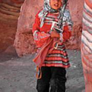 Beautiful Girl At Petra Jordan Print by Eva Kaufman
