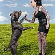 Beautiful Woman And Pit Bull Print by Rob Byron