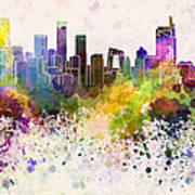Beijing Skyline In Watercolor Background Print by Pablo Romero