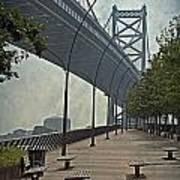 Ben Franklin Bridge And Pier Print by Tom Gari Gallery-Three-Photography