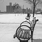 Bench At Belle Isle With Detroit I Print by John McGraw