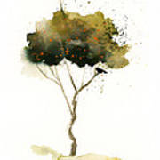 Bent Tree With Blackbird Print by Vickie Sue Cheek