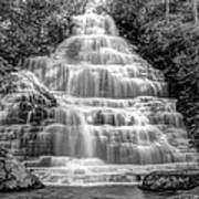 Benton Falls In Black And White Print by Debra and Dave Vanderlaan