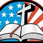 Bible With Cross American Stars Stripes Print by Aloysius Patrimonio
