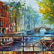 Bicycle In Amsterdam Print by Leonid Afremov