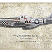 Big Beautiful Doll P-51d Mustang - Map Background Print by Craig Tinder