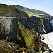Bixby Bridge Near Big Sur On Highway One In California Print by Artist and Photographer Laura Wrede