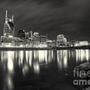 Black And White Image Of Nashville Tn Skyline  Print by Jeremy Holmes