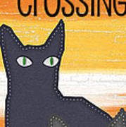 Black Cat Crossing Print by Linda Woods