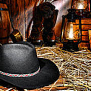 Black Cowboy Hat In An Old Barn Print by Olivier Le Queinec