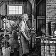 Blacksmith And Apprentice 2 Bw Print by Steve Harrington