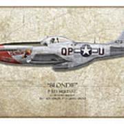 Blondie P-51d Mustang - Map Background Print by Craig Tinder