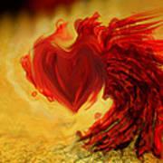 Blood Red Heart Print by Linda Sannuti