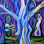 Blue And Purple Girl With Tree And Owl Print by Genevieve Esson
