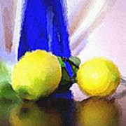 Blue Bottle And Lemons Print by Ben and Raisa Gertsberg