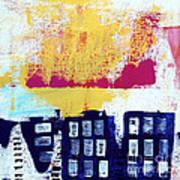 Blue Buildings Print by Linda Woods