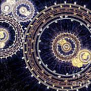 Blue Clockwork Print by Martin Capek